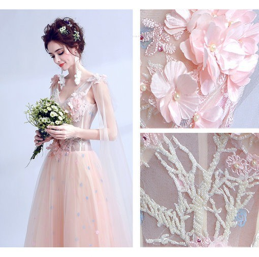 Aline Wedding Gown: Aline Pink Wedding Dress With Train