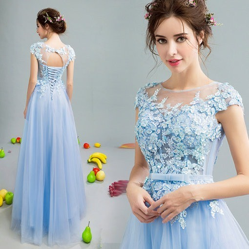 f159aea74431f A Line Blue Evening Gown Maternity Evening Gown