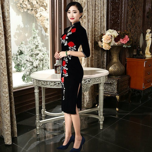f49a204bc Cheongsam Black Tea Length - Cheap Prom Dress,Evening Dress ...