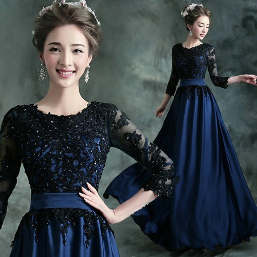 evening dress with sleeves-91-05
