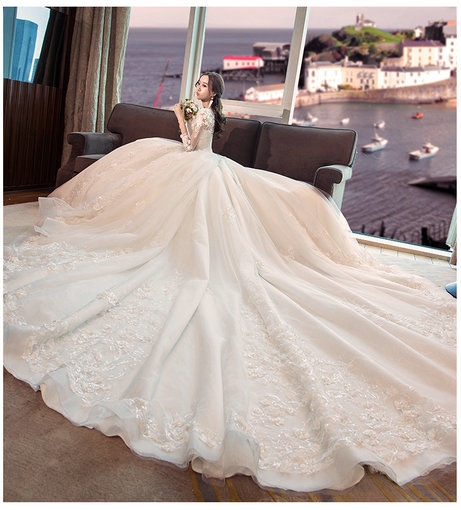749be0a72f182 Long Sleeve Wedding Dress With Train Maternity Dress - Cheap Prom ...