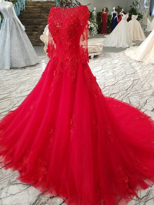 Haute Couture Red Wedding Gown Lace Bridal Dress Online
