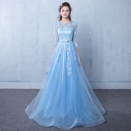 762c323024a Affordable A Line Prom Dress Long Sleeve Light Blue Party Dress ...