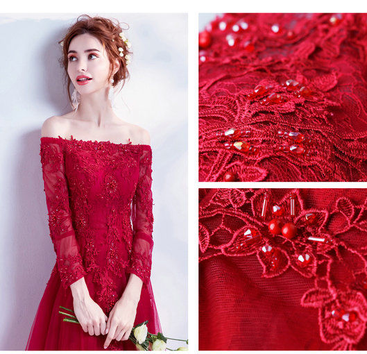 red evening dresses with sleeve 0498-05