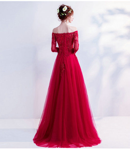 red evening dresses with sleeve 0498-06
