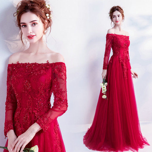 red evening dresses with sleeve 0498-08