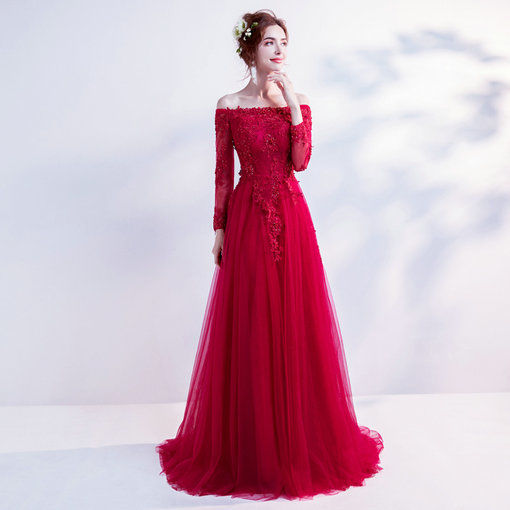 red evening dresses with sleeve 0498-10
