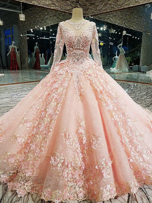 Haute Couture Pink Long Sleeve Wedding Dress Ball Gown