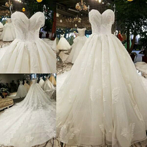 Strapless Ball Gown White Wedding Dress