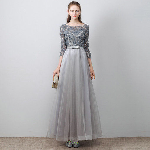 Aline Prom Dress Grey Long Evening Dress Plus Size