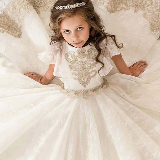 592e41801 Girls Party Dresses Lace Ball Gown Floor Length Flower Girl