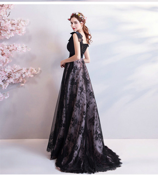 b0dd85768eed3 Black Evening Dress Plus Size V Neck Prom Dress Train
