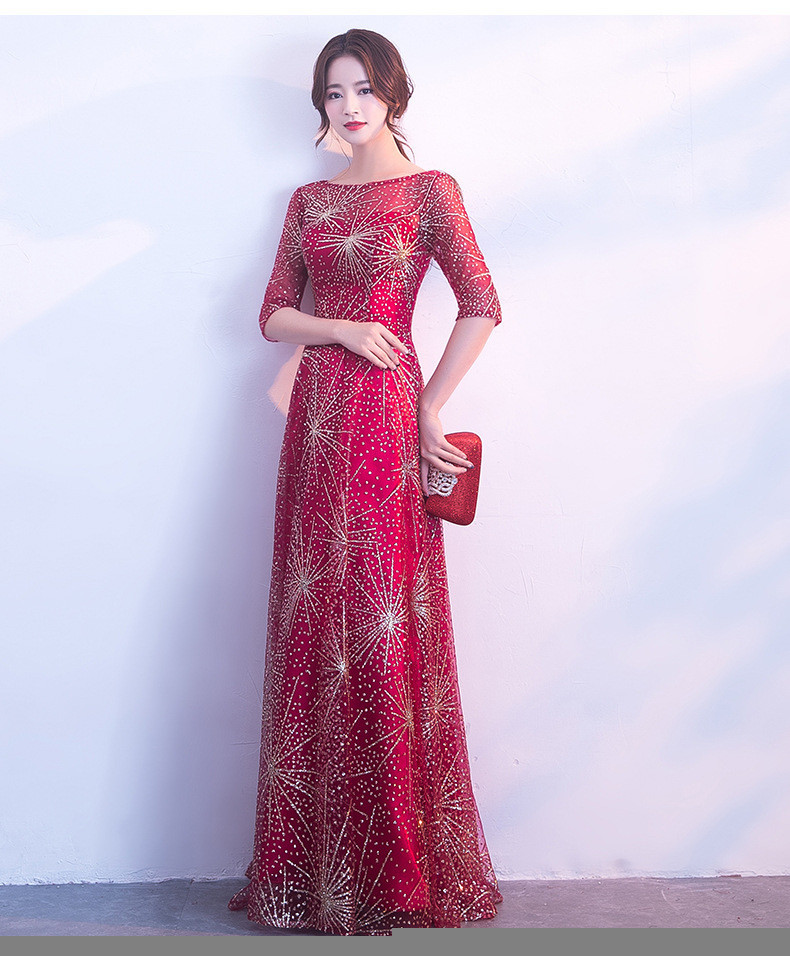 2123ef426061 Red And Gold Prom Dress A Line Long Bridesmaid Dress Sale