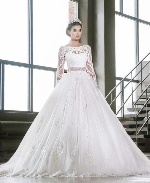 ball gown wedding dress with lace 0715-01