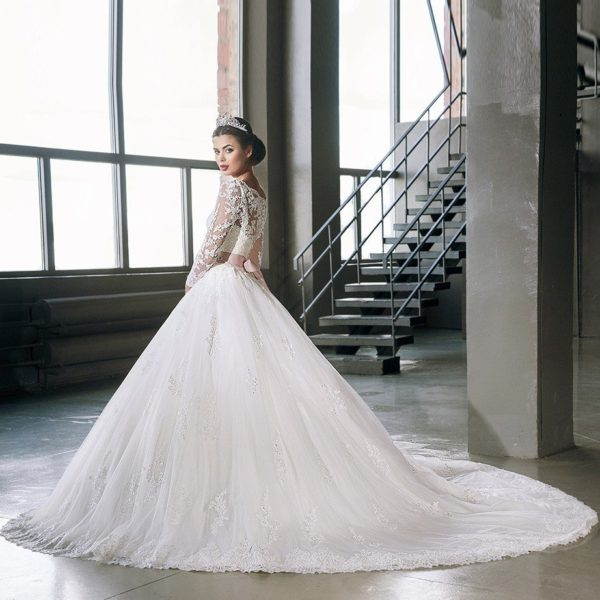 ball gown wedding dress with lace 0715-02