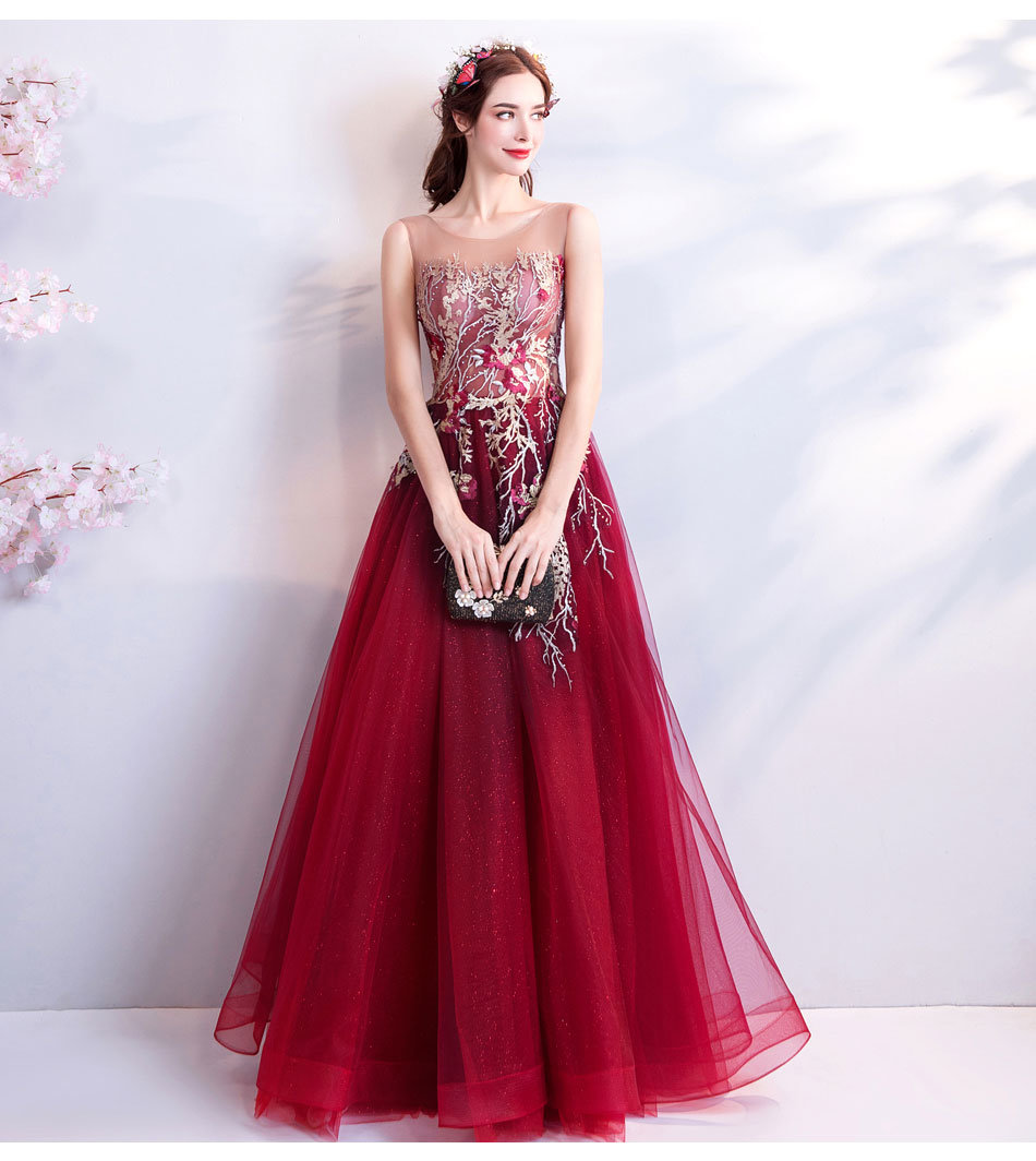 296bda7d7d Burgundy Formal Dress A Line Long Prom Dress 2018