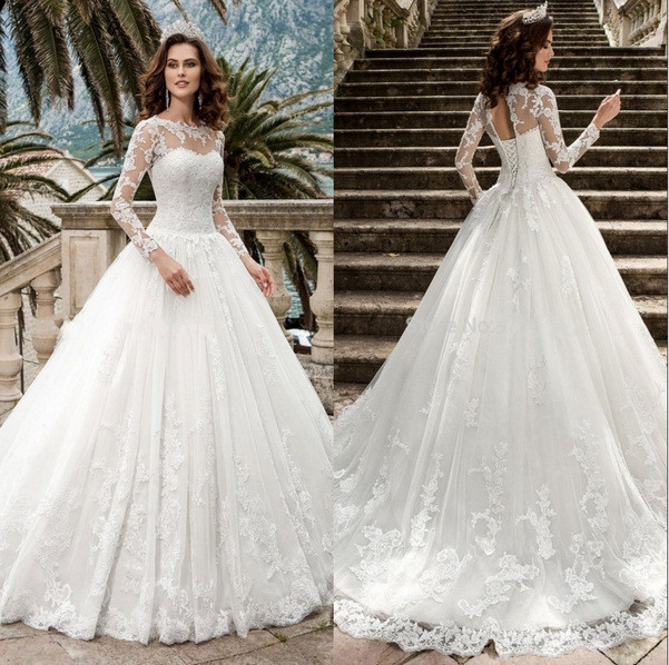 Lace Wedding Dress High Neck With Train Long Sleeve