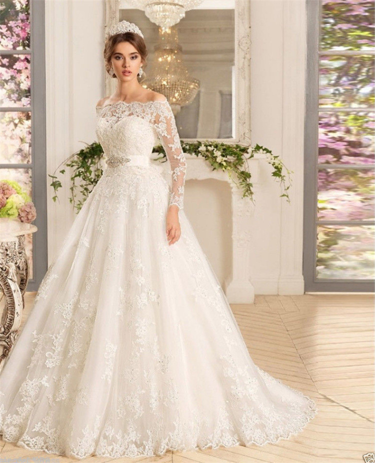 Wedding Dresses: Lace Wedding Dress Ivory A Line Long Sleeves Off Shoulder