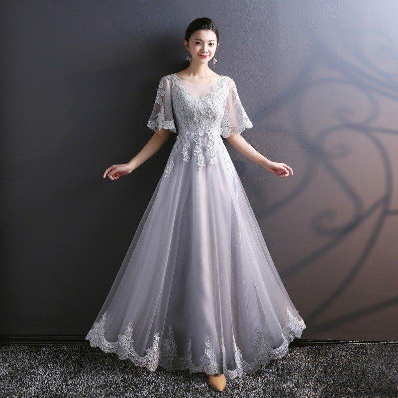 03c63fd317a Light Grey Bridesmaid Dress A Line Long Lace Prom Dress