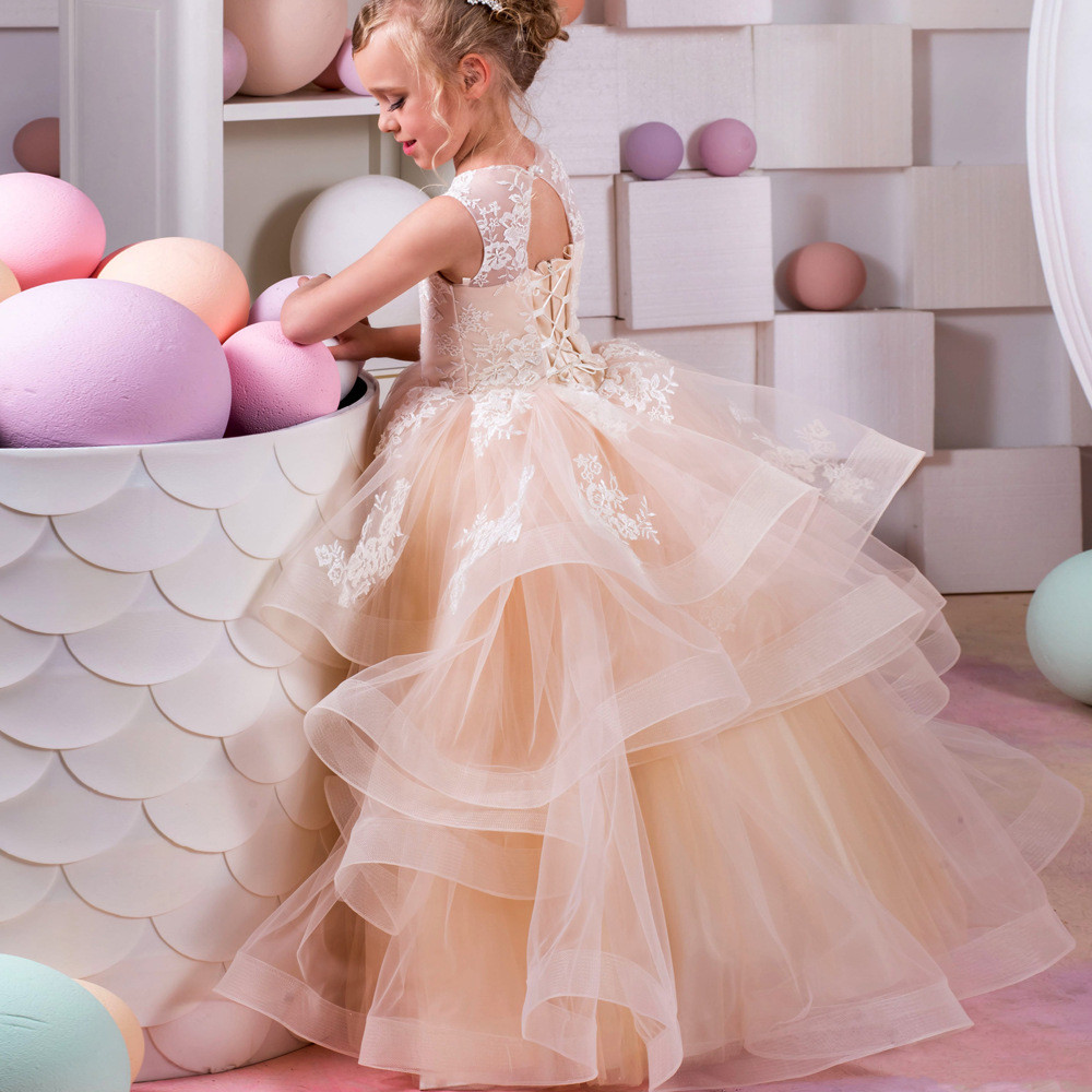 12d74cb21a4 Tulle Flower Girl Dresses Blush Ball Gown Floor Length