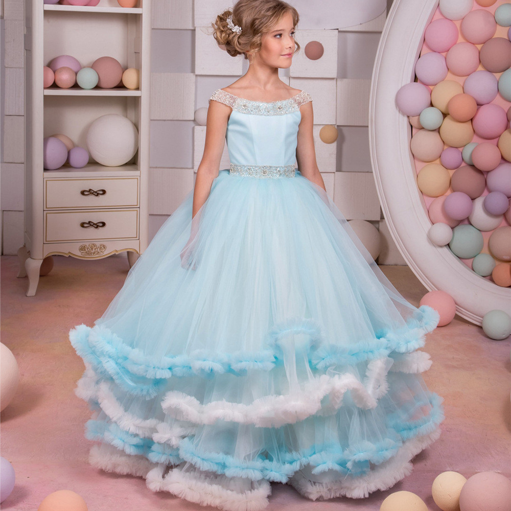 33ab459ee8 Childrens Bridesmaid Dresses Light Blue Little Girl Dress
