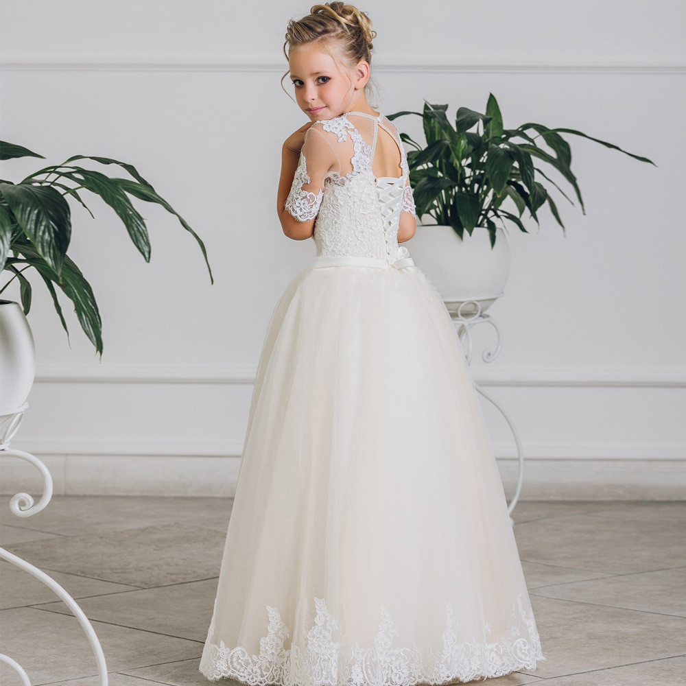 8fd38161f53 Flower Girl Dress Toddler White A Line Lace Girls Party Dresses