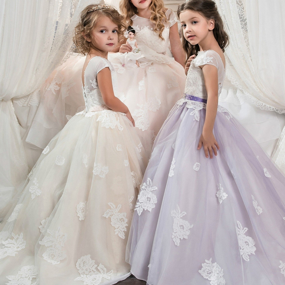 Girls Dressing Gown Ball Gown Lace Light Pink Purple Party