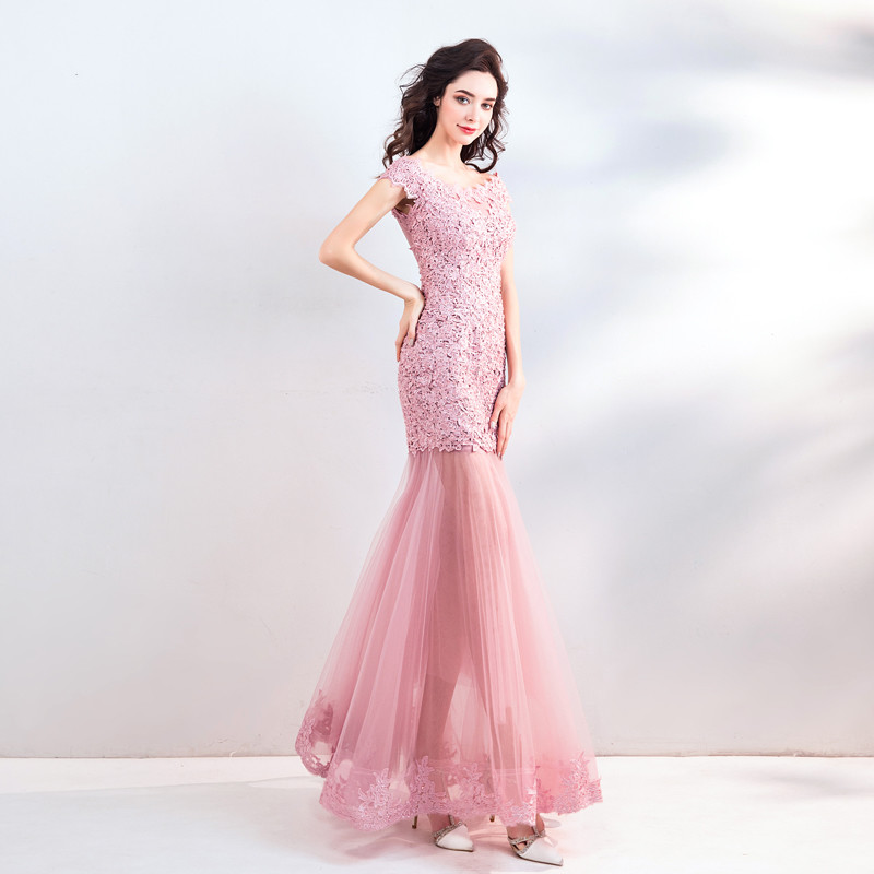 70dcad09ff3 Pink Mermaid Prom Dress Lace up Long Evening Party Dress