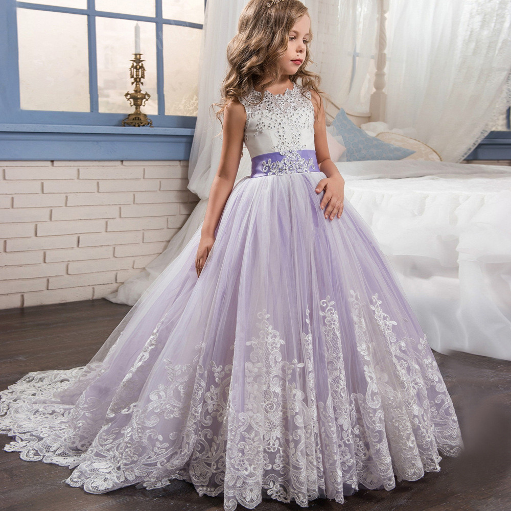 623d46f7be665 Purple And White Flower Girl Dresses Lace Ball Gown Sale