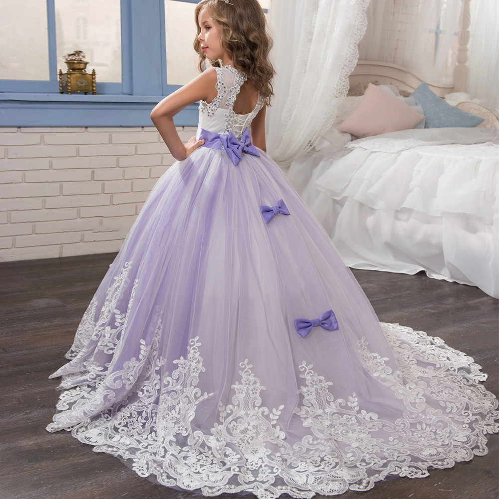 8d247cc0a10 White And Lilac Flower Girl Dresses
