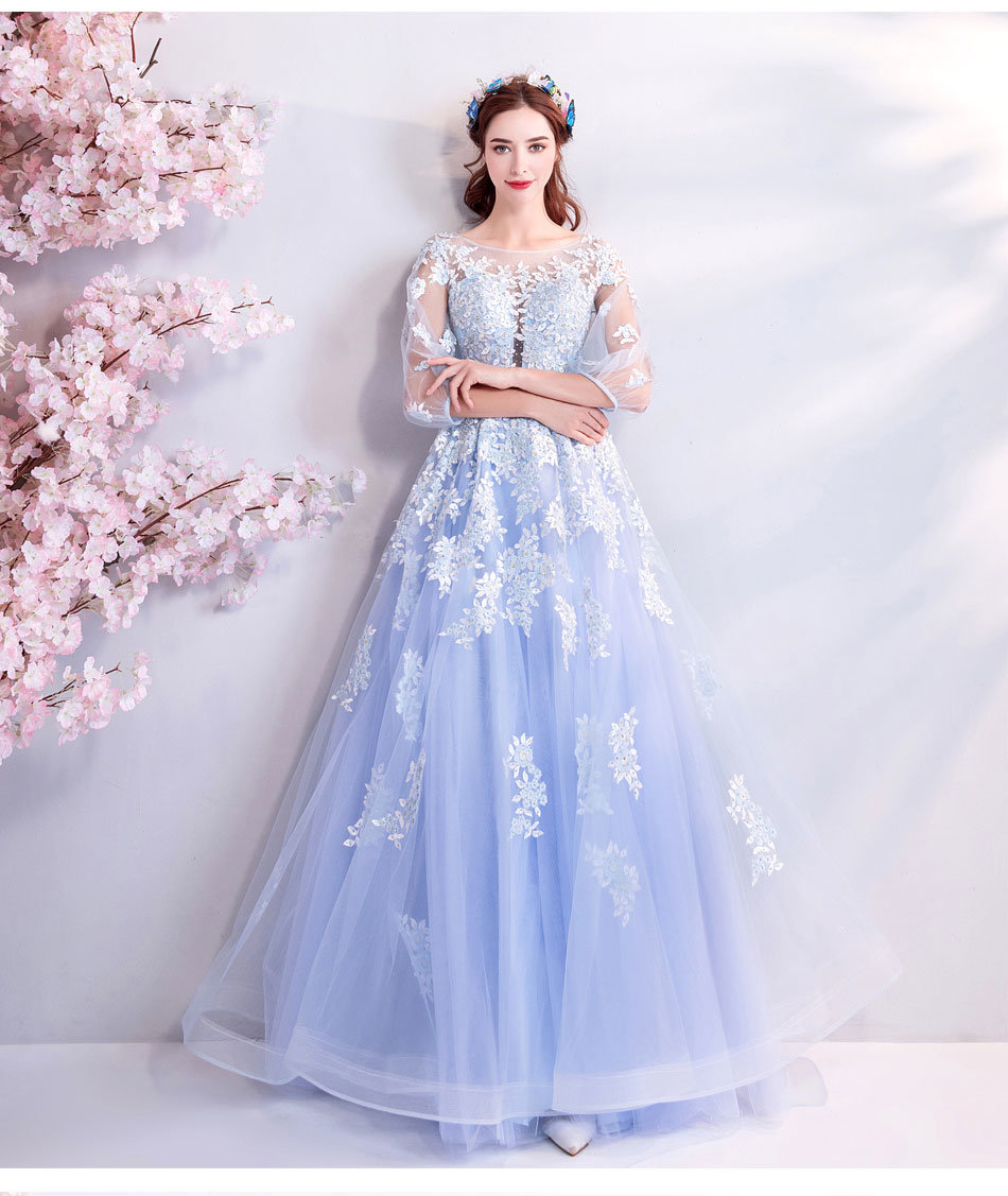 bcb52d5bc9b Sweet 15 Dresses Light Blue Sheer Lace With Sleeve