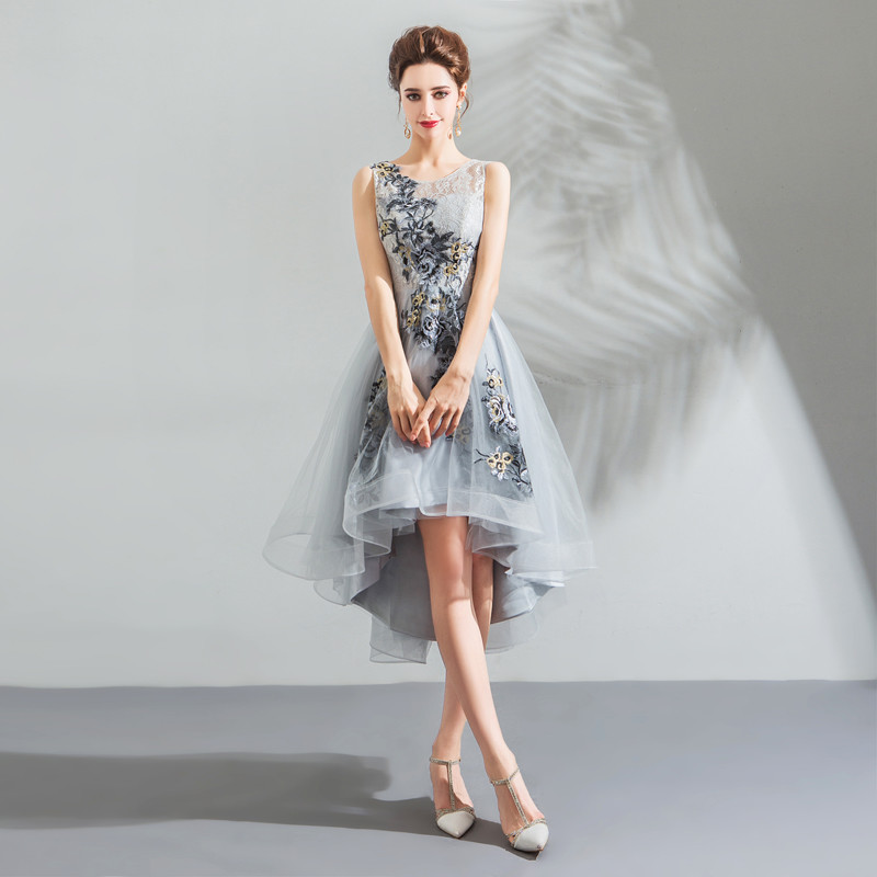 discount price beautiful and charming best place for High Low Dress Grey Lace Embroidery Prom Cocktail Dress