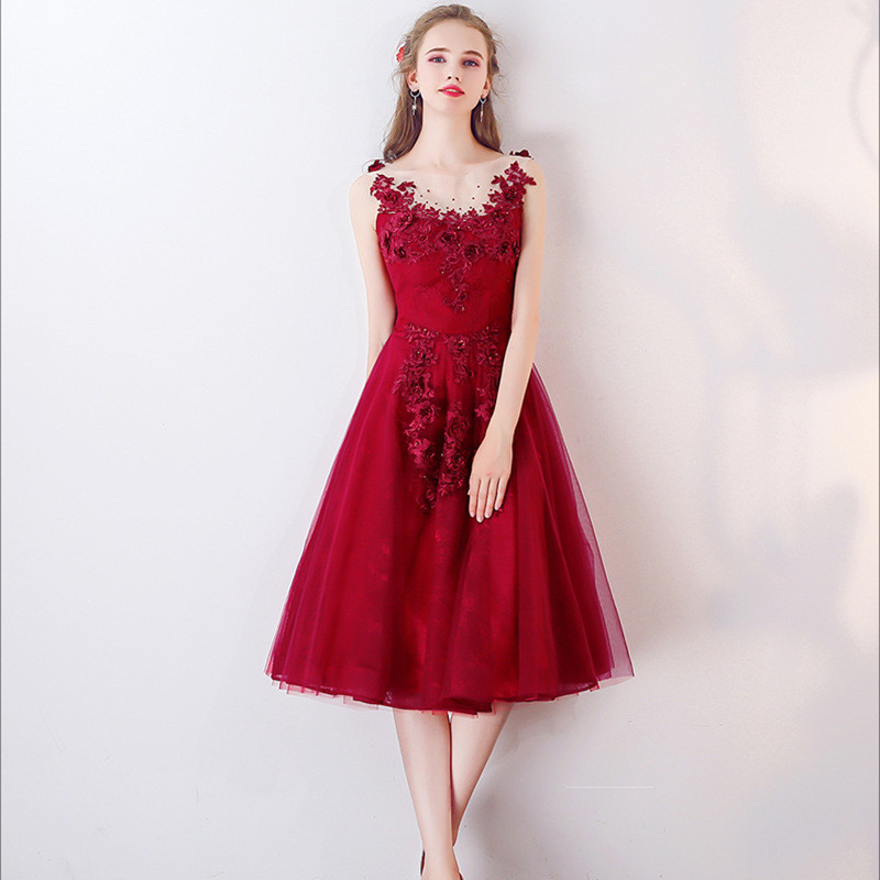 00243b9cd Knee Length Cocktail Dress Red Lace Short Prom Dress