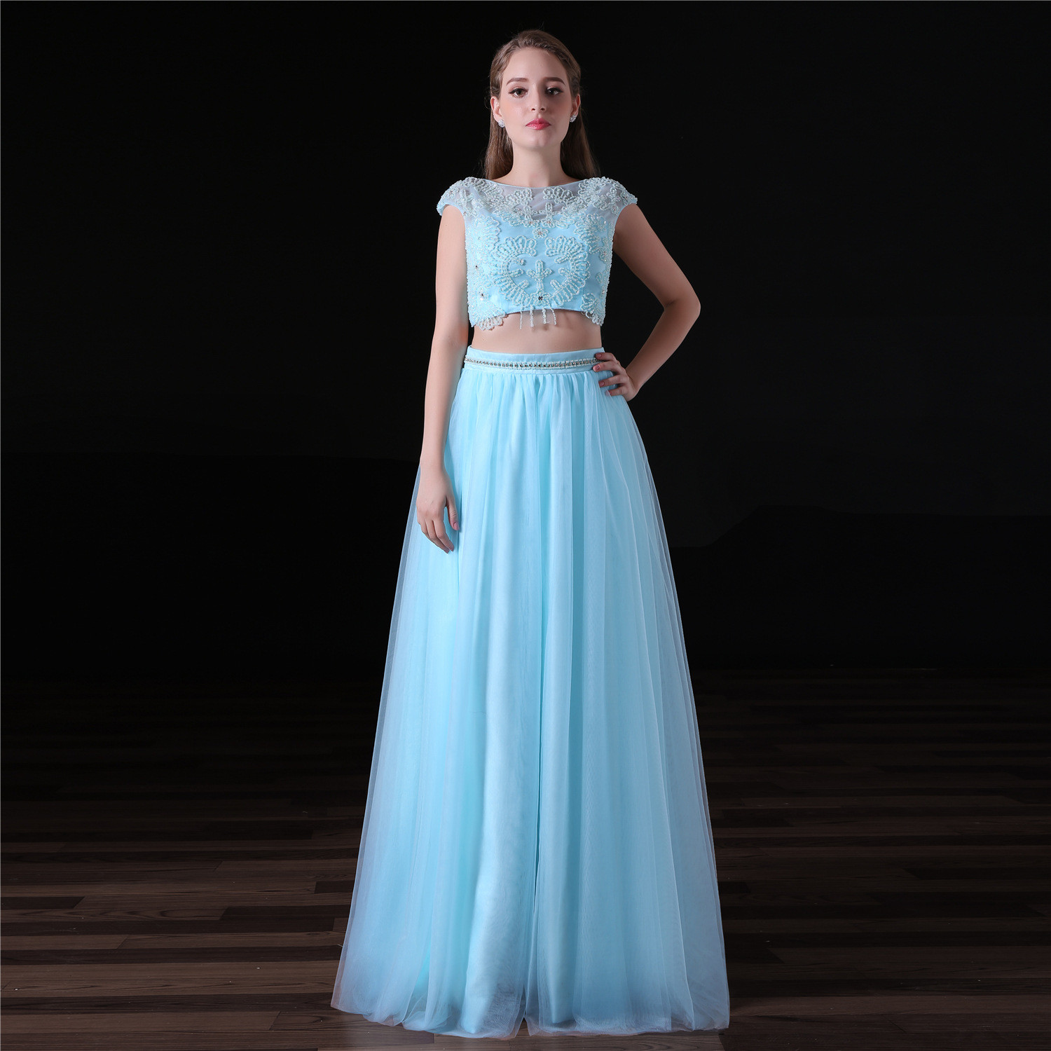 f51a0caab01d4 Light Blue Two Piece Prom Dress A Line Long Party Dress