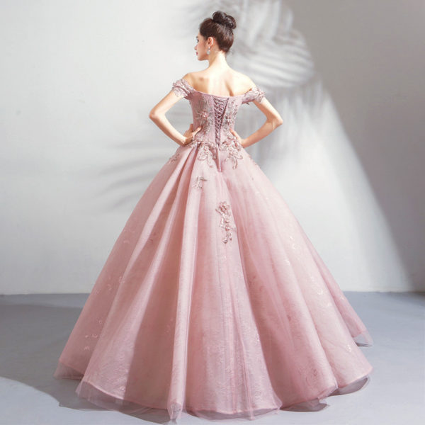 pink ball gown prom dress-0820-02