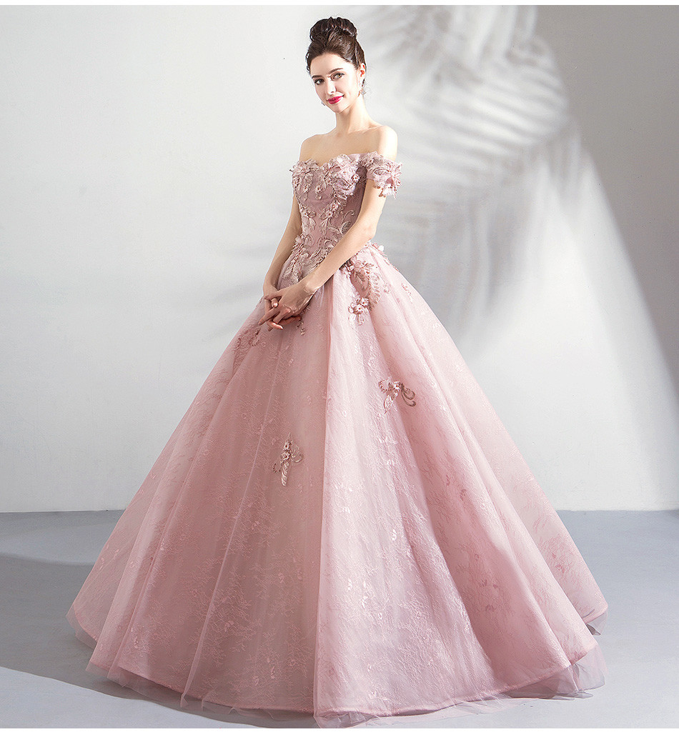 Fuchsia Gown: Pink Ball Gown Prom Dress Lace Flower Wedding Dress