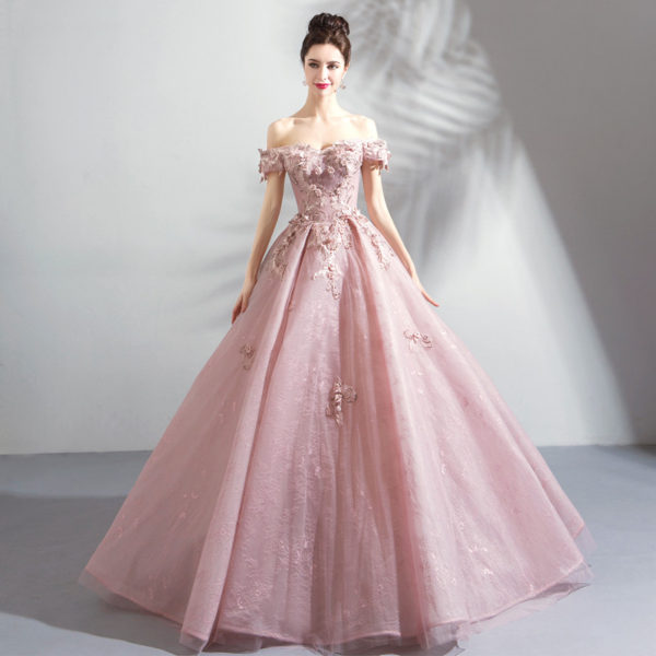 pink ball gown prom dress-0820-08