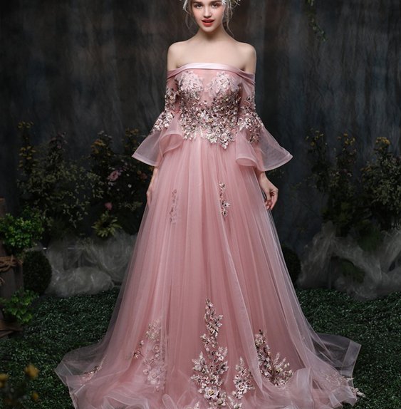 Pink White Princess Wedding Dresses: Princess Prom Dress Pink A Line Wedding Dress With Train