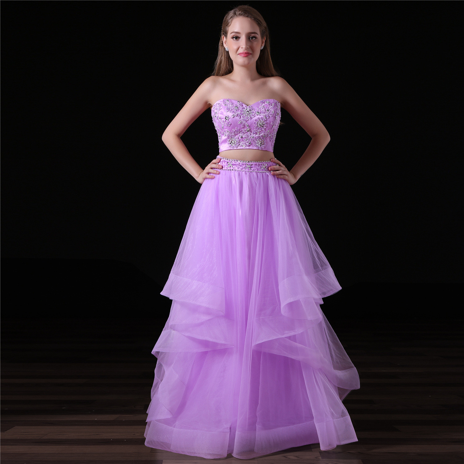 Purple Two Piece Prom Dress Strapless Long Girls Gown