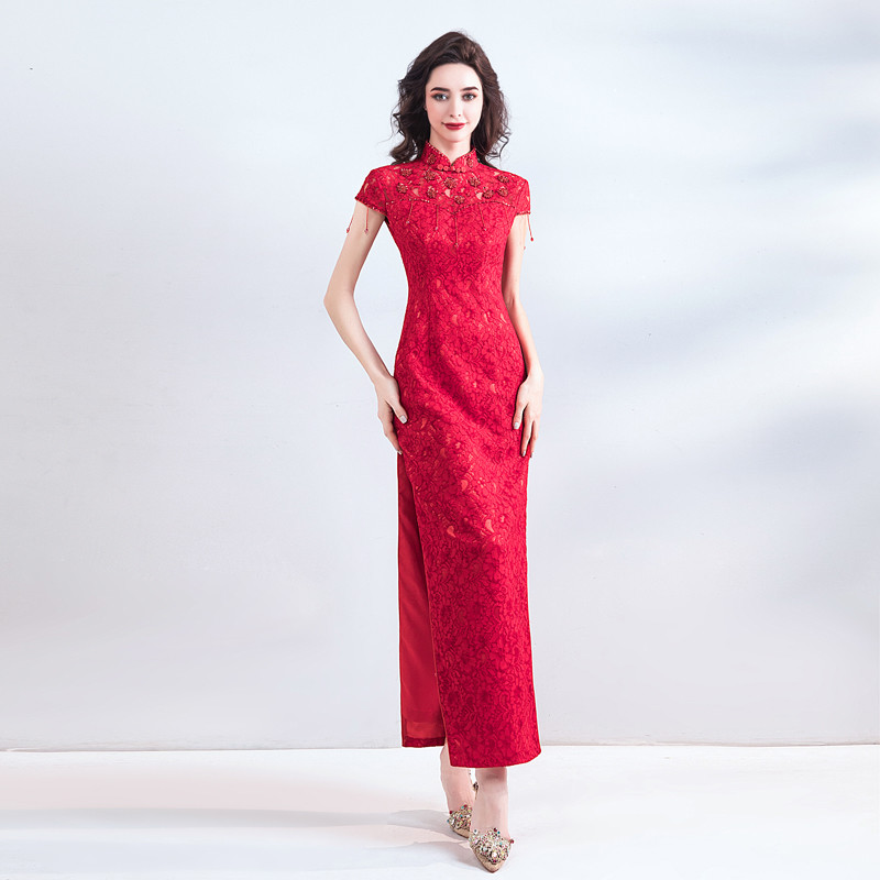 258ce567672 Red Lace Formal Dress Ankle-Length Chinese Qipao Slit
