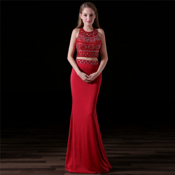 red two piece prom dress-0827-02