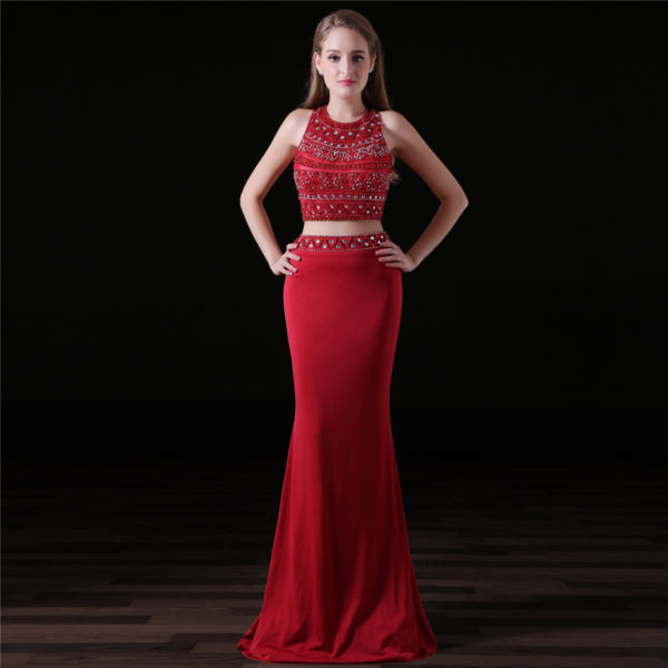 red two piece prom dress-0827-03