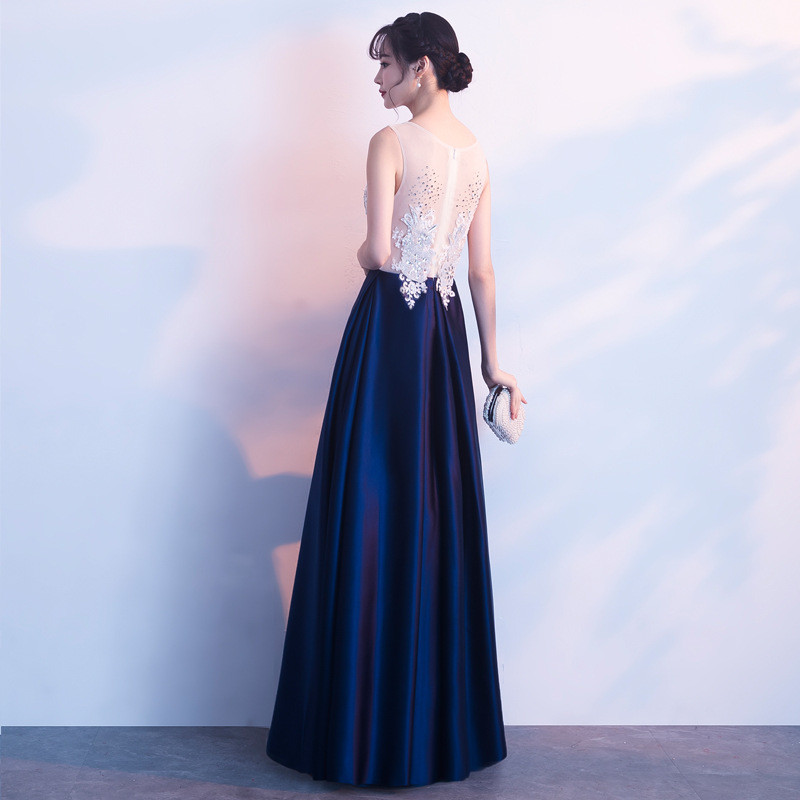 939f106baa7 Blue And White Prom Dress A Line Plus Size Formal Dress
