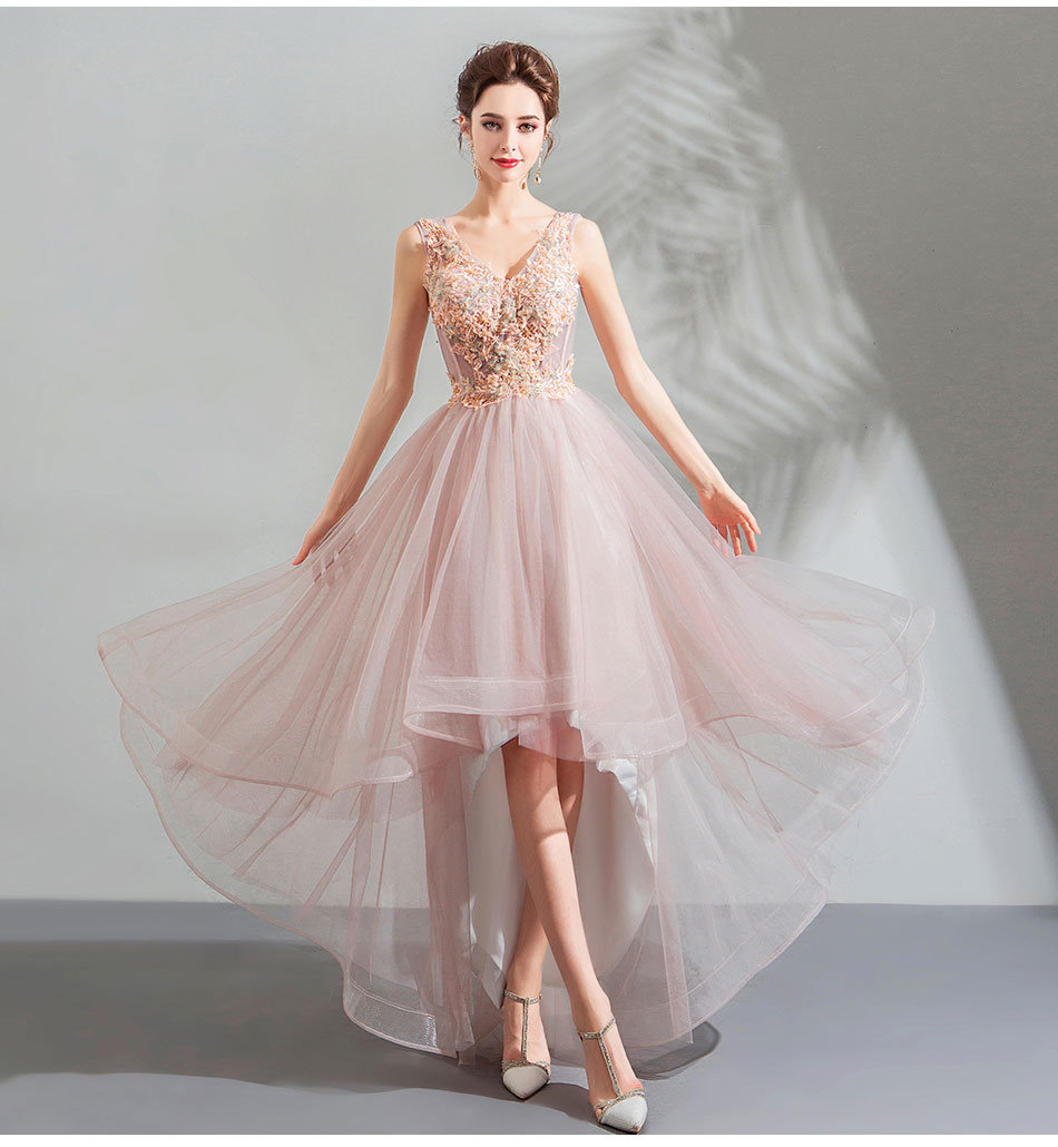 professional sale new product exclusive range Pink Party Dress V Neck High Low Cocktail Prom Dress Sale
