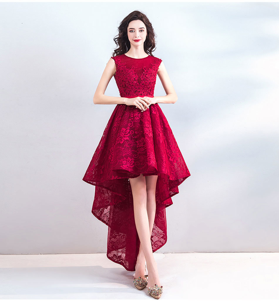 6d73c7a321758 Red High Low Dress Lace Short Prom Cocktail Dress Plus Size