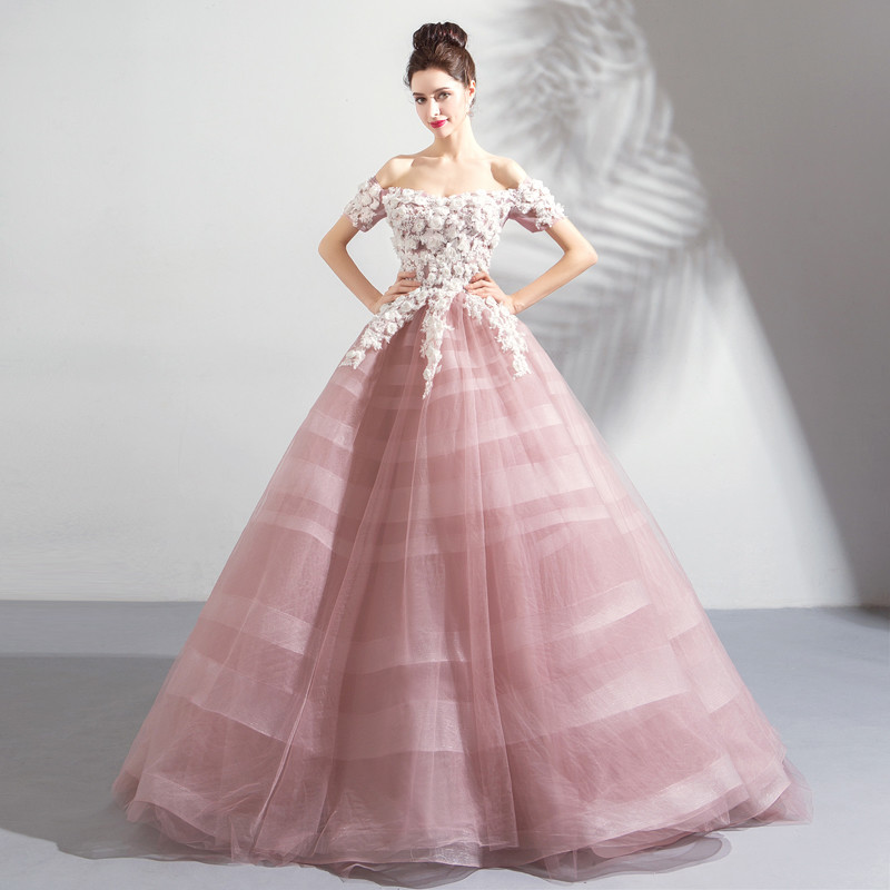 9be4fbff45 Pink Ball Gown Wedding Dress Princess Quinceanera Dresses