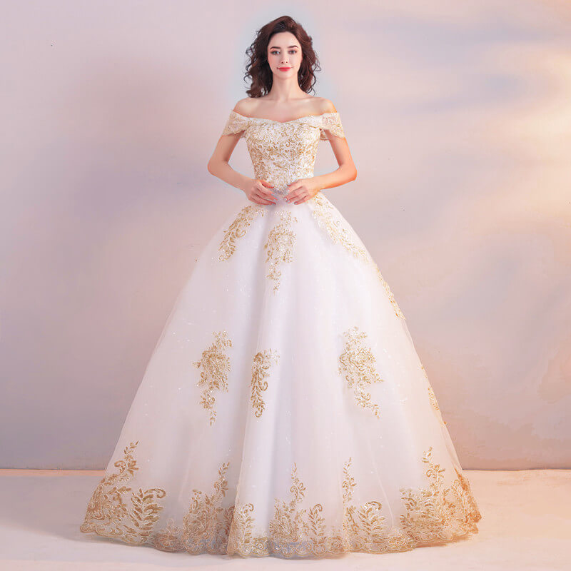 White And Gold Wedding Dress Princess Lace Bridal Dress