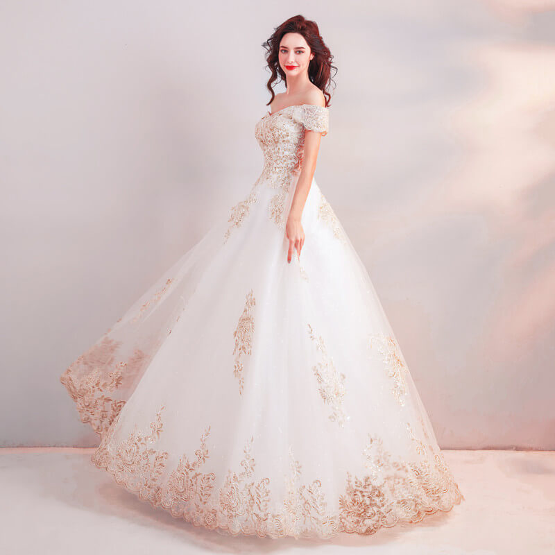 Wedding Dress White And Gold