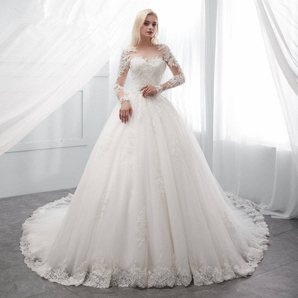 Wedding Dresses: Princess Wedding Dress White Ivory Ball Gown Long Sleeve Sale