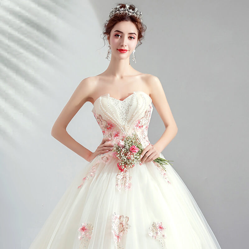 Pink And White Wedding Gowns: White Wedding Dress With Pink Strapless Ball Gown